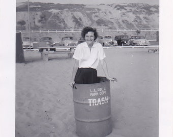 Have a Trashy Day! ~ Antique Snapshot photo of Women Standing in a Trash Can on Beach in Los Angelos California