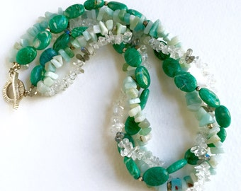 Multi-Strand Twisted Necklace,  Russian Amazonite, Amazonite and Quartz by KarenWhalenDesigns