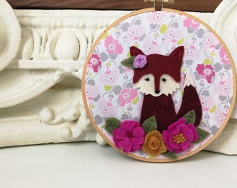 Bohemian Fox Hoop Art - Felt Wall Art - Sleepy Fox Amidst Wildflowers
