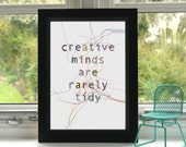 Creative Minds are Rarely Tidy Print // Embroidery // A4 Print // Inspirational Quote // Illustration // Wall Art // Unframed // Quote