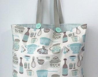 Scandinavian Kitchen Market Diva Tote Bag - Cotton Tote - Shopping Bag - Farmer's Market Bag - Cotton Grocery Bag
