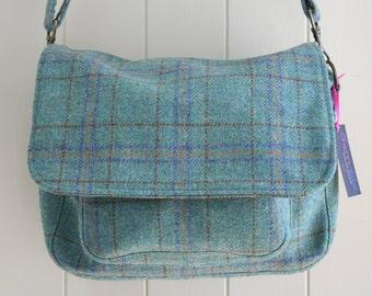 Tweed Satchel bag with floral lining