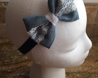 Light Blue Denim Hair Bow Headband or Hair Clip, Baby Girl Hair Bow Headband, Women Hair Bow, Girls Hair Bow Headband, Toddler Girl Hair Bow