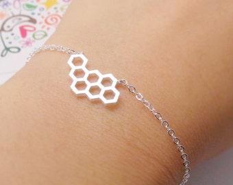 Geometric  Bracelet, Honeycomb Bracelet, Beehive Bracelet, Gold Geometric Bracelet, Nature Bracelet