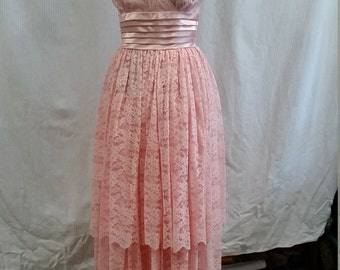Lovely Pink Lace 1950s Evening Dress