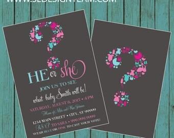 ON SALE! Gender Reveal Invitation, Gender Reveal Party Invitation, Gender Reveal Invite, gender reveal, baby reveal