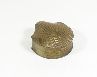 Brass Clam Box - Brass Scallop Box - Brass Shell Seashell - Shell Box - Vintage Brass -Brass Box - Brass Trinket Box