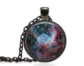 Thor's Helmet Necklace, Galaxy Pendant, Thors Nebula Jewelry [A72]