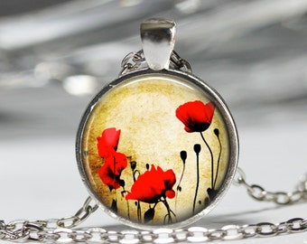 Poppy Flower Necklace, Flower Pendant, Floral Poppy Flower Jewelry [B14]