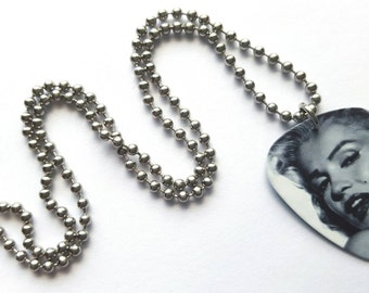 Marilyn Monroe Guitar Pick Necklace with Stainless Steel Ball Chain - hollywood - actress - movies - glamor
