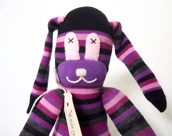 Reagan Rabbit. Blue striped sock bunny, sock animal, soft plush toy rabbit.