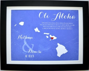 Hawaii wedding gift personalized, wedding map destination, hawaii map, wedding gift, hawaii print, state map art, any state, hawaii poster