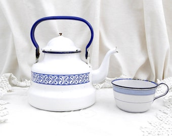 Vintage French Enamelware White and Blue Kettle / French Country Decor / Vintage Kitchenailia / Kitchenware / Retro Home Interior  / Ruistic