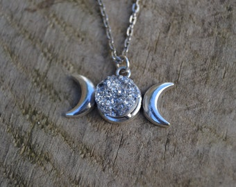 Wiccan jewelry witchcraft , triple moon necklace with silver druzy , druzy moon necklace