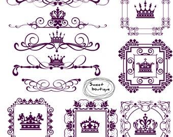 Wedding clip art, Digital Border, Frames Clipart, Retro clipart, Wedding Text Dividers, Wedding Decorations, Crown digital frame 0618