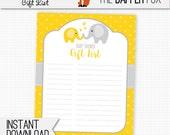 Baby Shower Gift List Yellow Elephant - printable digital giftlist - Gender Neutral Girl Boy Yellow and Grey Elephant baby shower 8x10
