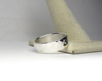 Hammered Silver Ring Hammered Ring Wide Ring Wide Band 6mm Wide Sterling Silver Handmade Made to Size
