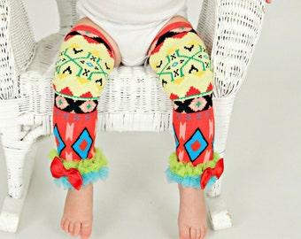 Aztec print Leg Warmers, baby toddler girl tribal geo leggings, pants