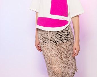 Sheer Warm Grey Hand Knit Net Midi Skirt Drawstring