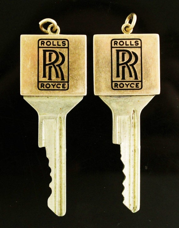 Very Rare....Set Of Two, Wonderful His & Hers, Rolls Royce Key Pendant's , W/ 14k Solid Yellow Gold Tops!