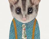 Australian Possum Print, Possum Poster, Marsupial, Australian Animals, Kids Room Decor, Cute Animal Art, Possum