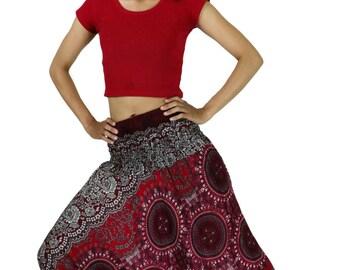 Women Boho Pants Yoga Pants Drop Crotch Gypsy Pants Harem Pants Floral flower prints Aladdin Pants Maxi Pants Roomy Pants Trouser/DarkRed