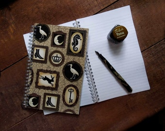 Silhouette Notebook, Gothic Victorian Notebook, Journal, Cabinet of Curiosities, Steampunk, Eccentric, Collector, Anthropology, Low Brow,