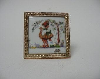 Adorable Vintage Framed Limoges Elem FM Porcelaine Artistique Square plate