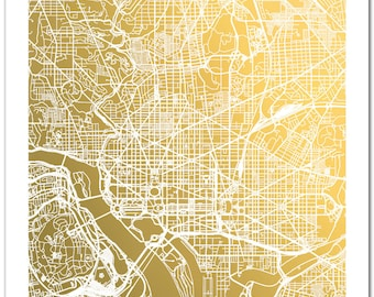 Washington D.C. Map, Gold Foil Map™, Washington DC Print, Gold Foil Print, Washington Map Print, Gift for Traveler, Gold Foil City Map