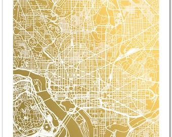Washington D.C. Map, Gold Foil Map™, Washington DC Print, Gold Foil Print, Washington Map Print, Gift for Traveler, Gold Foil City Map