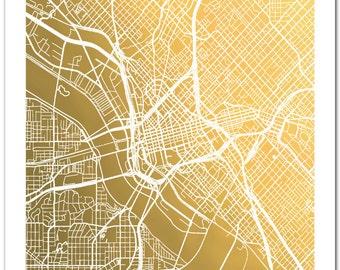 Dallas  Map, Gold Foil Map, Gold Foil City Map, Gold Foil Wall Art, Map of Dallas, Dallas Print, Poster, Gold-Pressed Map, Dallas Texas