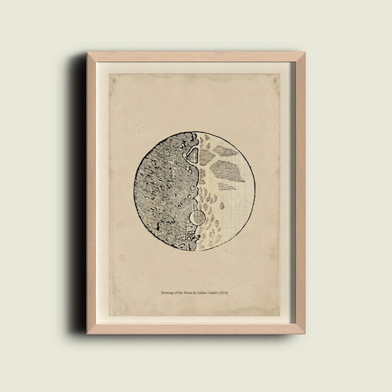 Astronomy Print  Poster / Drawing of the Moon by Galileo Galilei / Recovered Vintage Image to Frame