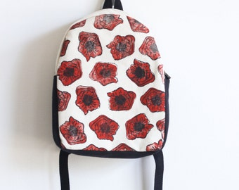 MADE TO ORDER, Customizable, Toddler Backpack, Hand Stamped, Poppies, Red Flowers, Kids Backpack