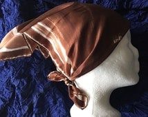 Vintage silk scarf HALSTON designer made in France brown neck scarf  head scarf  1980s fashion scarf 18 by 18 square