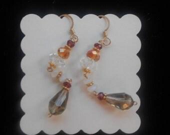 Czech crystal,garnets, natural rock crystal, and moonstones