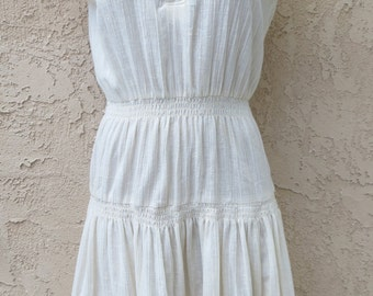 Vintage 1970's white crinkle cotton ethnic style fiesta maxi dress boho hippie