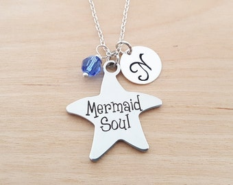Mermaid Soul Necklace - Beach Necklace - Personalized Initial Necklace - Sterling Silver Necklace - Swarovski Birthstone Necklace