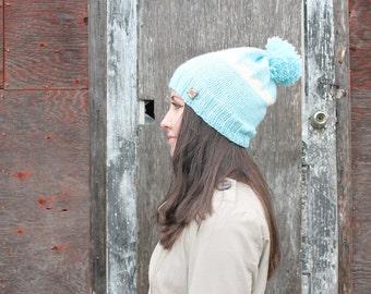 Slouchy Winter Pom Pom Hat . Wool Free . Mountain Peak Ski Bunny Hat  {  Sky Blue & White  }