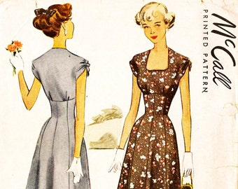 McCall 7575 Vintage 1940s Juniors Dress with Gathered Sleeves Sewing Pattern Sz 18