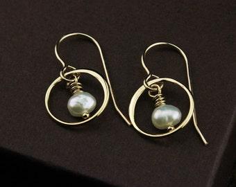 Gold circle earrings pearl earrings freshwater pearl earrings freshwater pearl jewelry white pearl drop earrings gold dangle earrings pearls