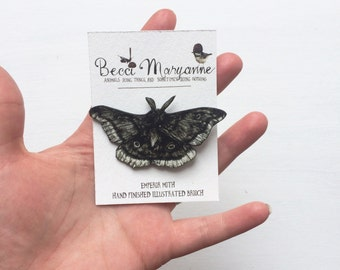 Moth Brooch // Illustrated Insect Jewellery -- Emperor Moth