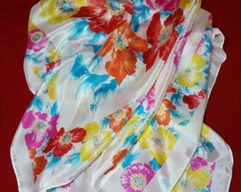 Spring SALE The Specialty House 100% SILK Scarf Made in Japan Spring Springtime Colors White Pink Blue Yellow Red Orange Fuchsia