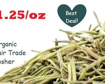 Organic ROSEMARY  - 1oz Dried Herb - Organic, Fair Trade, Kosher, Non-GMO cooking spice culinary