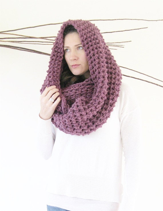 Large Hooded Cowl Scarf with Hood Knit Infinity Scarf