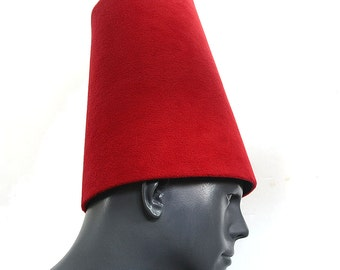 Traditional Whirling Dervish Hat ''Sikke'' 59~60 cm cherry Red
