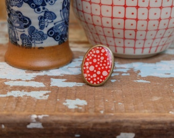 Polka dots antique brass oval ring with japanese chiyogami paper and resin