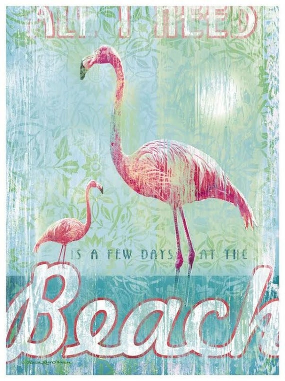 Vintage Flamingo At The Beach 8x10 Fabric Block Great