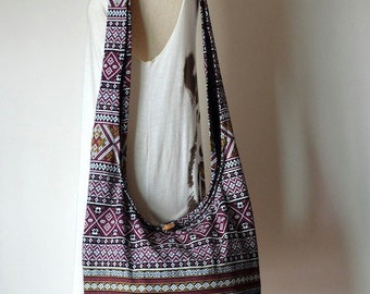 Black Bohemian Bag Ethnic Bag Hobo Bag Cotton Shoulder Bag Crossbody Bag Boho Bag Sling Bag Hippie Bag Messenger Bag Hmong Purse with Zipper