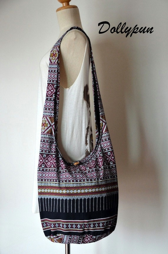 Black Bohemian Bag Ethnic Bag Hobo Bag Cotton Shoulder Bag