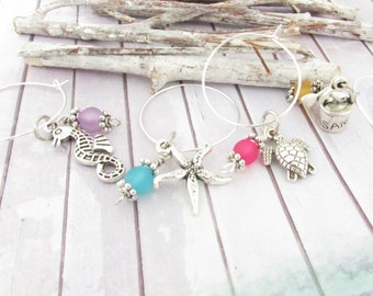 Wine Charm Set, Set of 8 Wine Charms, Wine Glass Charms, Hostess Gift, Starfish Wine Charms, Beach Gift